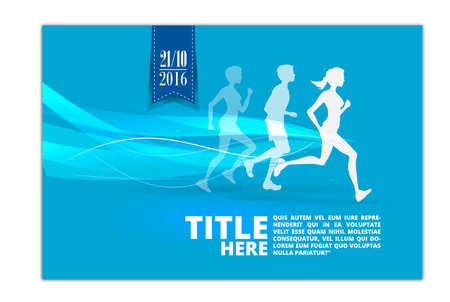 Running people silhouette. Poster, Flyer bannerabstract design