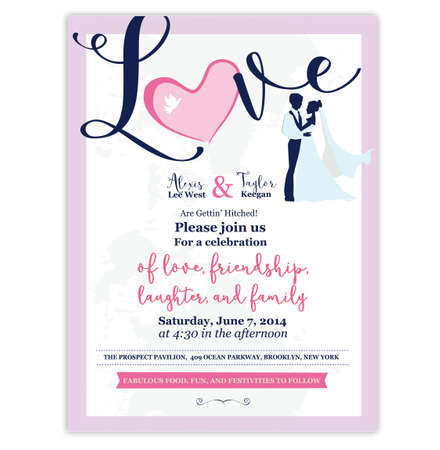 Wedding Invitation design Template. Silhouette people. Couple