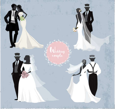Four wedding couples in silhouette, Vintage background