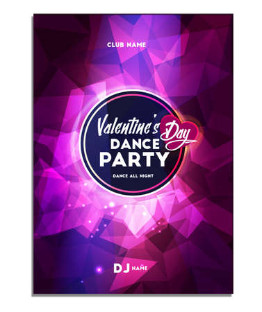 Happy Valentines Day . Dance Party. Poster Flyer