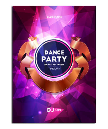 Dance Party. Poster Flyer, Polygonal Mosaic Background, Vector illustration