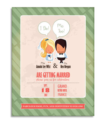 vintage wedding invitation card template with wedding couple