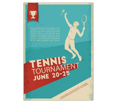 Poster, Flyer in Retro Style. Tennisspeler. Tekst en achtergrond op een aparte laag, kleur kan met één klik worden gewijzigd.