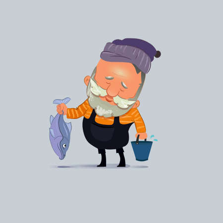 illustration of a cute cartoon fisherman with fish and bucket