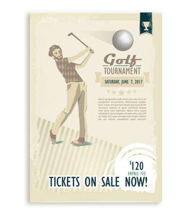 Retro golf player poster. 向量圖像
