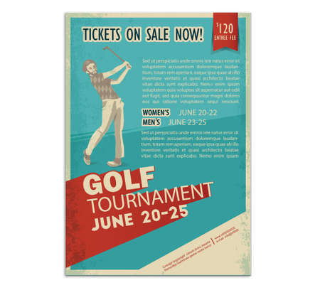 Retro golf poster or flyer with a golf player. Text and background on a separate layer, color can be changed in one click. Vectores