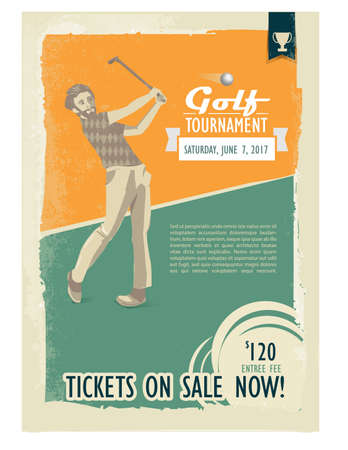 Retro golf poster or flyer with a golf player. Text and background on a separate layer, color can be changed in one click. Ilustração