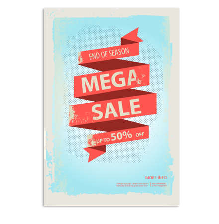 Vintage sale poster, flyer with ribbon banner 向量圖像