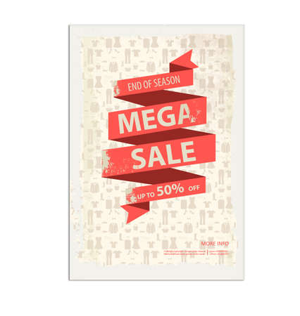 Vintage sale poster, flyer with ribbon banner Vectores