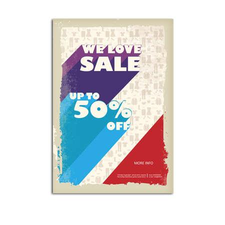 Vintage sale poster, flyer 向量圖像