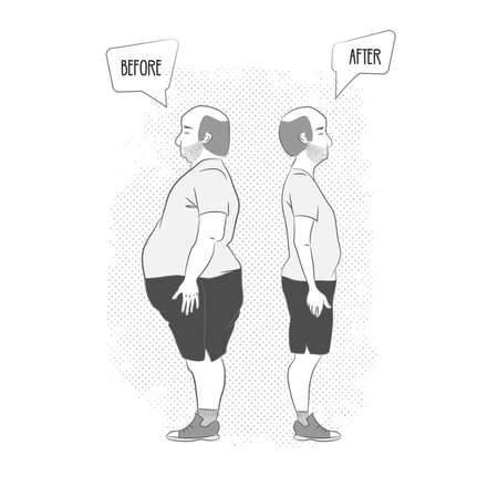 before and after . Man weight loss 向量圖像