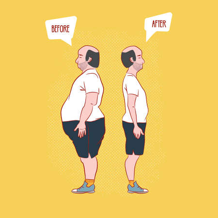 before and after . Man weight loss Vectores