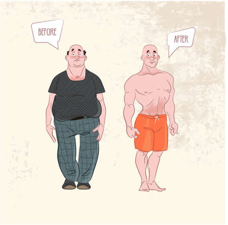 Weight loss. before and after . 向量圖像