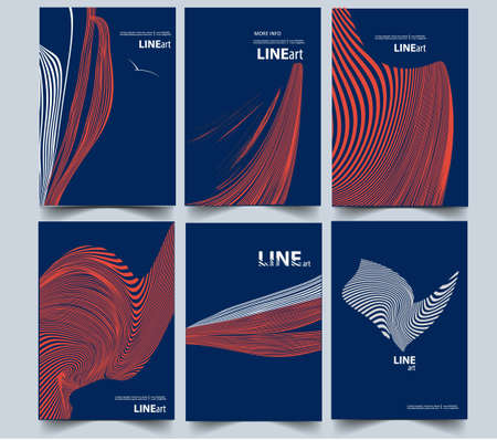 Abstract composition. Line art. a4 cover design set Vectores
