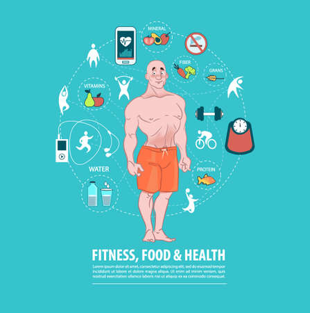 fitness, sport, food, health infographic