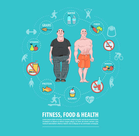 Fitness, Sport, Food, Health Concept. Weight Loss. Vectores