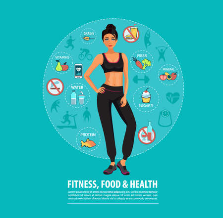 Concept of Fitness, Healthy Food and Lifestyle