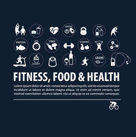 set of healthy lifestyle icons Vectores