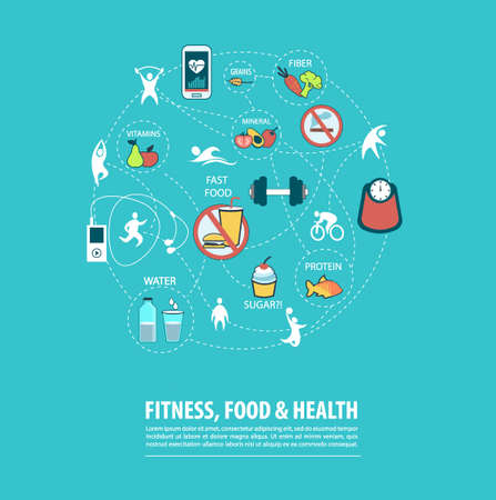 Concept of fitness, healthy food and lifestyle on blue background. Vector illustration. Illustration
