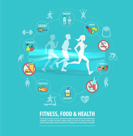 Concept of fitness, healthy food and lifestyle on blue background.