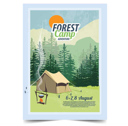 Camping poster, flyer, flat vector illustration.