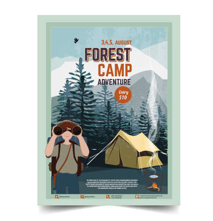 Camping poster, flyer, flat vector illustration Vectores