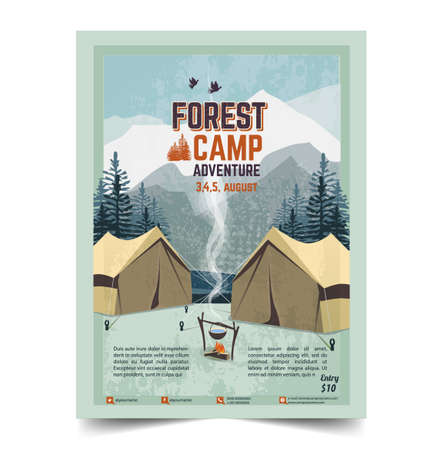 Camping poster, flyer, flat vector illustration Stock Illustratie