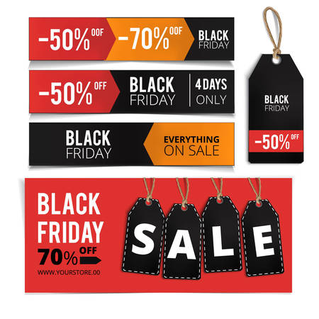 Realistic Black Friday sales tags set. Black friday design,label, sale, discount, advertising, marketing price tag