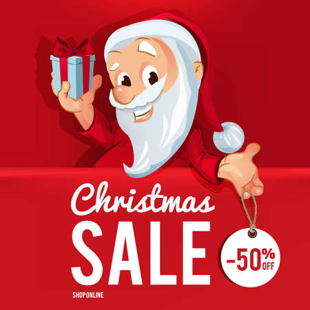 Christmas Sale Poster Illustration with Santa Claus Vectores