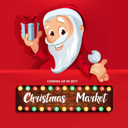 Christmas Market illustration with Santa Claus holding a gift box. 向量圖像