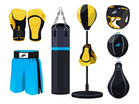 Boxing equipment design elements, boxing gloves and shorts illustration.