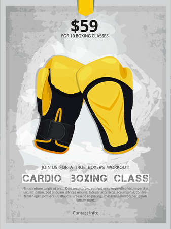 Boxing poster with boxing gloves illustration.