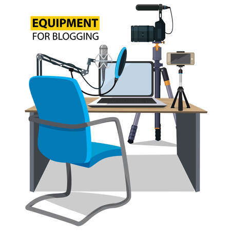 Workplace for blogger. Equipment for blogging illustration