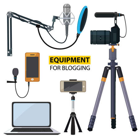 Equipment for blogging illustration