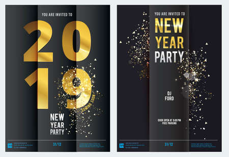 illustration of happy new year 2019 .gold and black collors. place for text christmas . Banner,poster, flyer, print