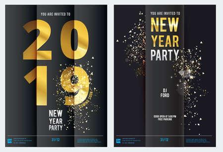 illustrazione di felice anno nuovo 2019 .gold e black collors. posto per il testo di Natale. Banner, poster, flyer, stampa Vettoriali