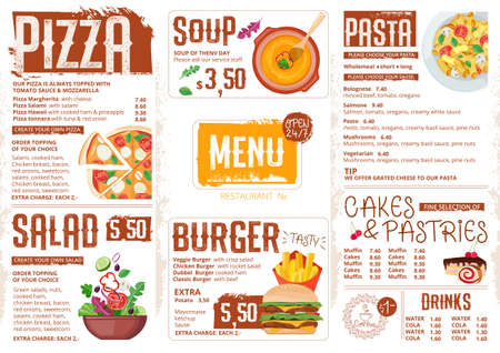 Menu template for restaurant in vintage style with food illustration.Breakfast advertisement template. Suitable for menus and as a separate design for offer on flyer, poster or Internet banner
