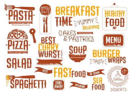 Headers voor menu, posters, advertenties in vintage stijl. Lettering. food symbols