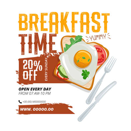 Breakfast advertisement template. Suitable for menus and as a separate design for breakfast offer on flyer, poster or Internet banner