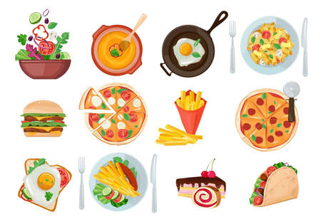 Fastfood , Pasta, Cake, Pizza, Breakfast illustrations collection. Traditional food. Icons for menu, logos and labels.