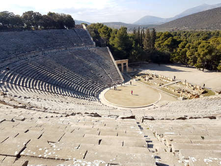 Greek theater of Epidaurus, the best acoustics in the world Stock Photo