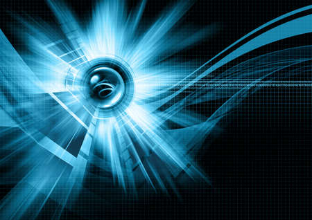 Blue lights, sphere and grid illusrtation photo