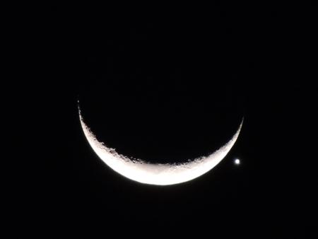 alineaci�n: la alineaci�n de la Luna con Venus Foto de archivo