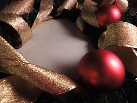christmas balls and golden ribbon