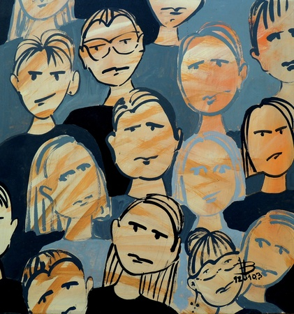 inconspicuous: drawing of faces in acrilic painting 3 Stock Photo