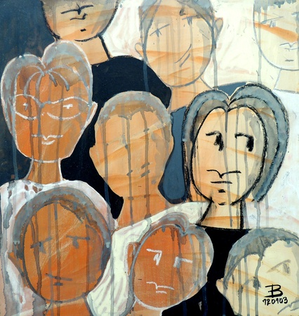 inconspicuous: drawing of faces in acrilic painting 1 Stock Photo