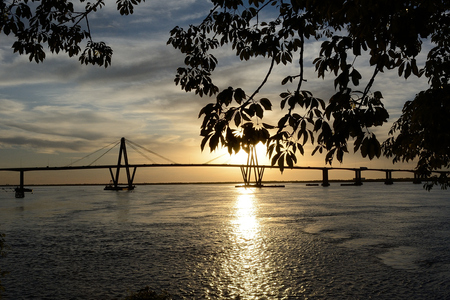 corrientes: peaceful sunset view of Belgrano bridge, Corrientes, Argentina, picture taken from the shore behind tree leaves