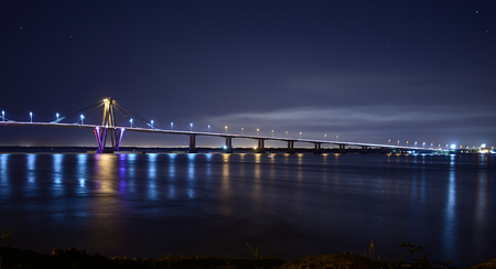 bridge parana river at night Corrientes Stock Photo