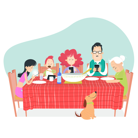Family dinner, technology, lifestyle and people concept