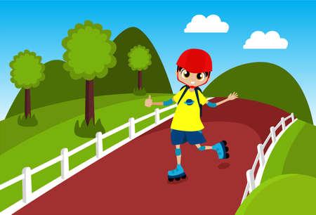 Één jongen schaatsen door het park